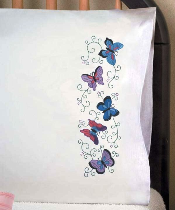 Tobin stamped embroidery butterflies pillowcases