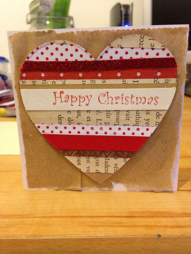 Scrap paper heart cut out Christmas card