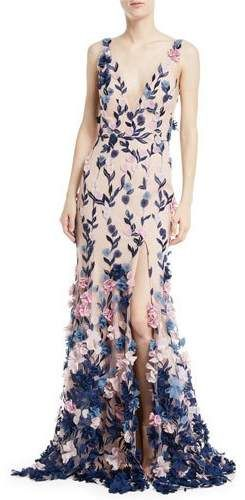be4191a1facf Marchesa Notte Embroidered 3D Chiffon Flower Trumpet Gown | Color ...