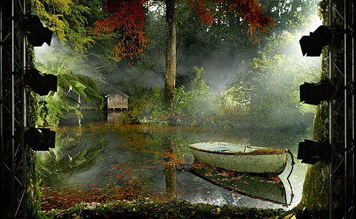 Dandenong Ranges, Australia / lake / dinghy / boatshed / mist / shade / ferns