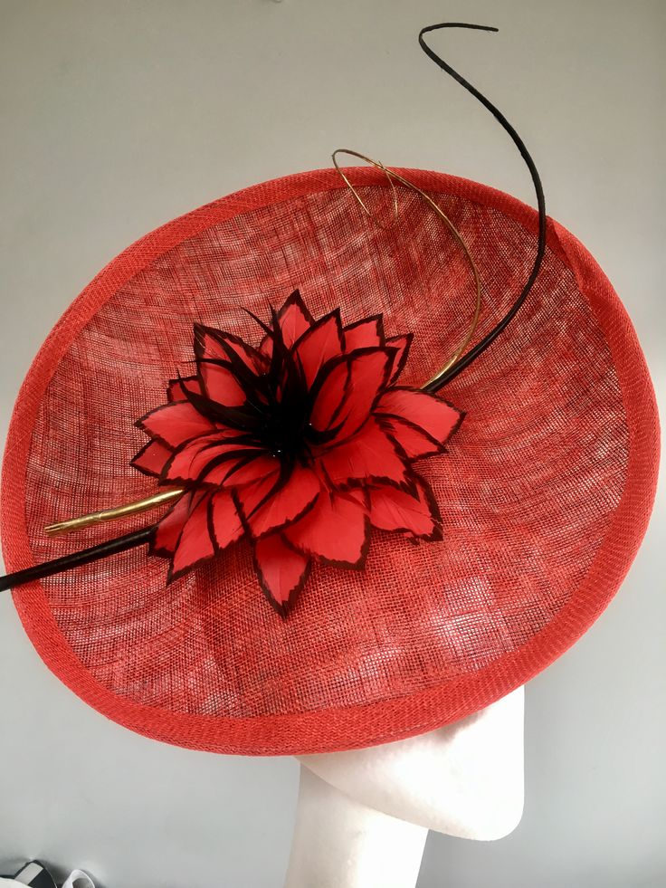 Feather Flower on Red and Black Sinmay
