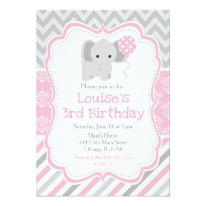 Blush Pink Damask Elephant Birthday Card - birthday cards invitations party diy personalize customize celebration