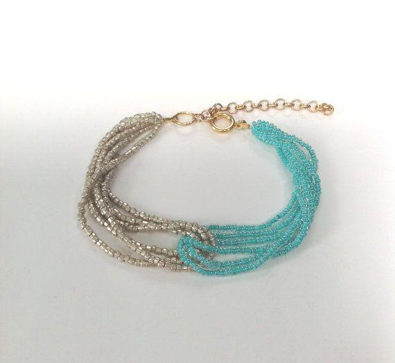 Turquoise bracelet, turquoise and gold bracelet, aqua bracelet, gold bracelet, teal bracelet, beaded bracelet on Etsy, $16.00