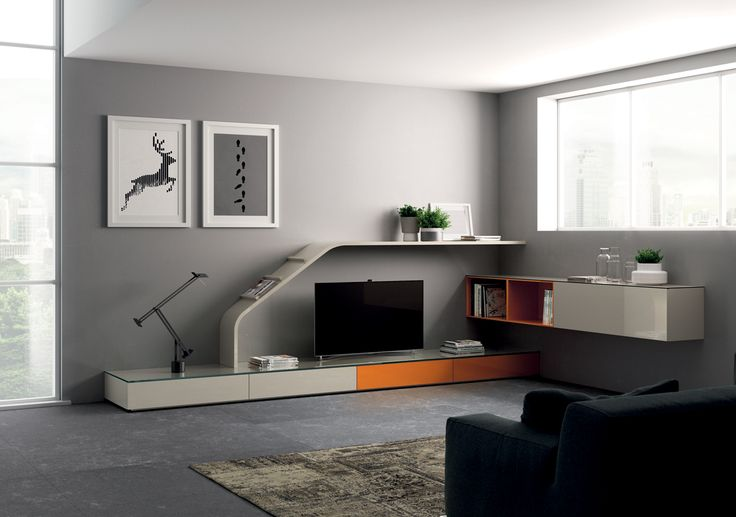 The Slide element is the key feature of this composition which develops along two sides with two-tone elements (Dove Grey gloss lacquered and Orange Kumquat gloss lacquered) which are both sit-on and wall-mounted.