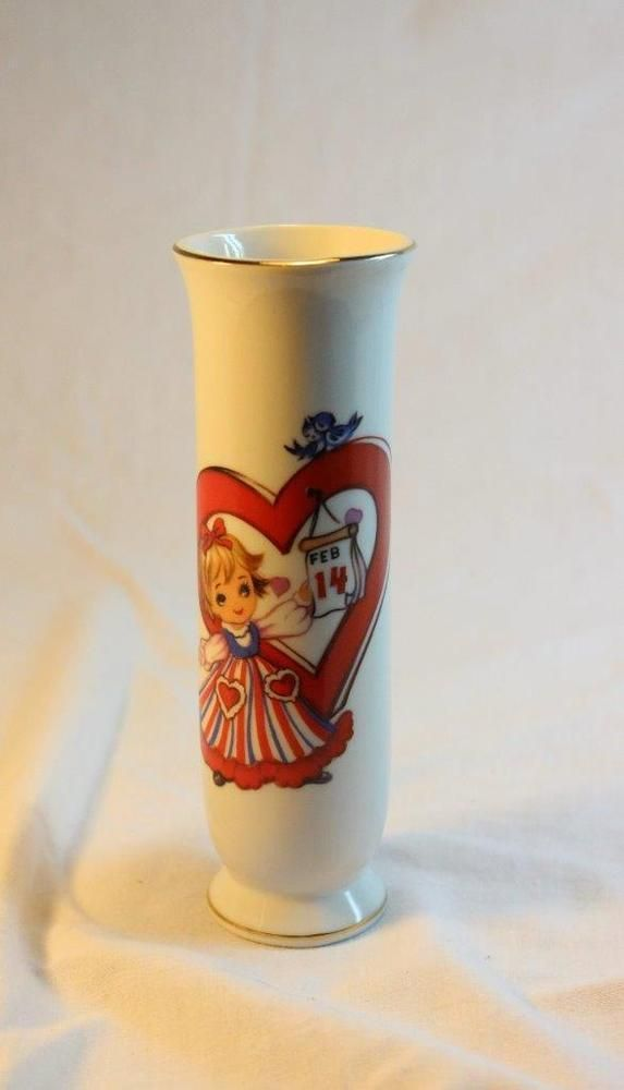 Vintage Japan Lefton China Bud Vase Girl Heart Valentines Day February 14 Hand