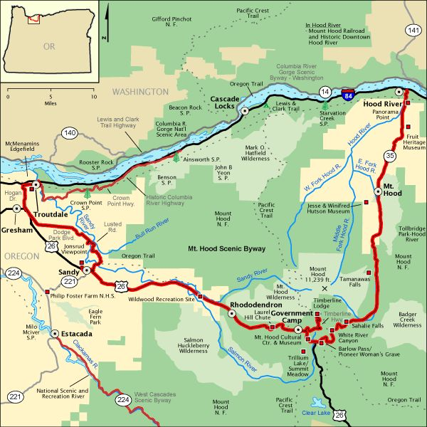 Mt Hood Scenic Byway Map America S Byways Camping