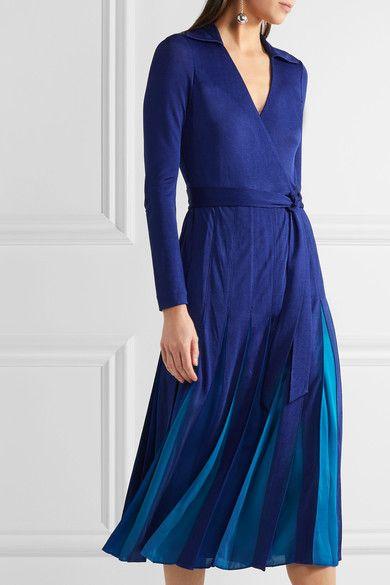 Diane von Furstenberg - Stevie Pleated Satin-jersey And Georgette Wrap Dress - Royal blue - US2
