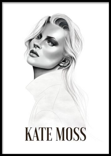 Art poster with illustration of Kate Moss created by our own design team. Stylish print that goes well together with our posters and prints with fashion quotes in an art collage on your bedroom or living room wall. Desenio.co.uk