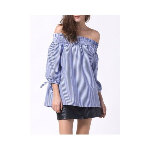 Smocked Off The Shoulder Striped Blouse (29 BAM) ❤ liked on Polyvore featuring tops, blouses, striped off the shoulder top, off the shoulder blouse, smock top, striped top and smocked blouse