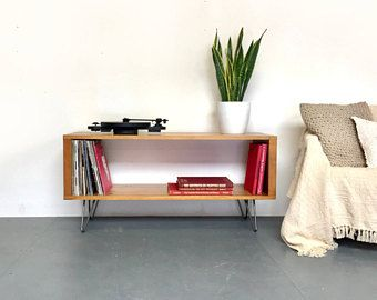 Stanton Medium 120cm Wide Record Player Stand, Vinyl Storage Cabinet, Console Coffee Table, Solid Wood on Mid Century Hairpin Legs.