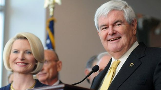 3/8/2012 March 7, 2012: Newt Gingrich, accompanied by his wife Callista, speaks at a rally in Montgomery, Ala. (AP)