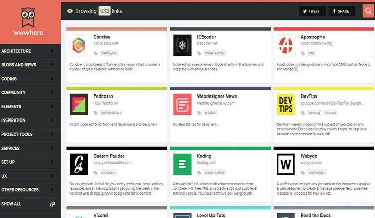 Wwwhere es un excelente directorio de recursos y herramientas para diseñadores y desarrolladores web. En estos momentos dispone de más de 630 recursos.