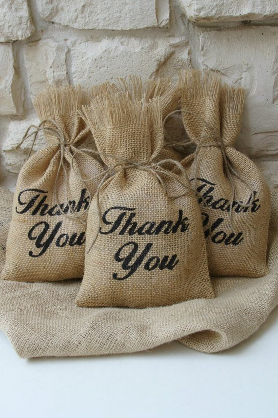 Burlap Gift Bags, Set of Three, Thank You, Black and Natural, Wedding, Teacher Appreciation, Gift Wrapping