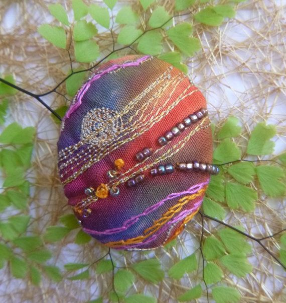 Autumn Moon Embroidered Brooch