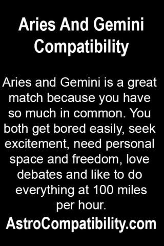 Aries and Gemini is a great match....