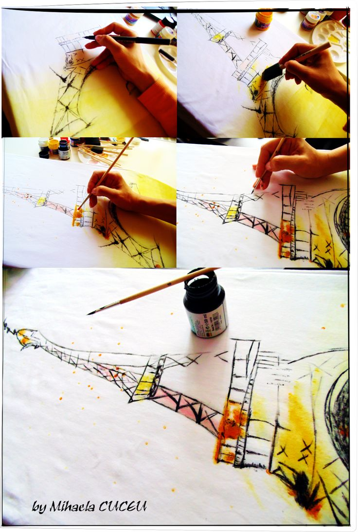 Tour Eiffel - pictura manuala rochie fashion - maxi - creatie proprie!