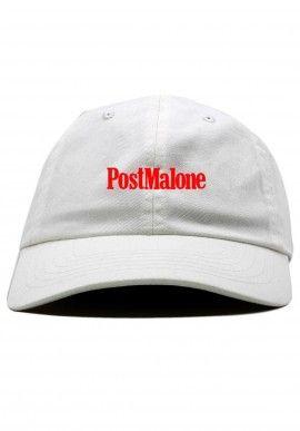 POST MALONE - CASQUETTE DAD CAP BLANCHE RED FONT  d86836224add