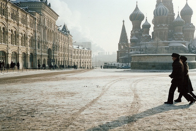 Walking across Red Square in the snow with St. Basil's in the background.