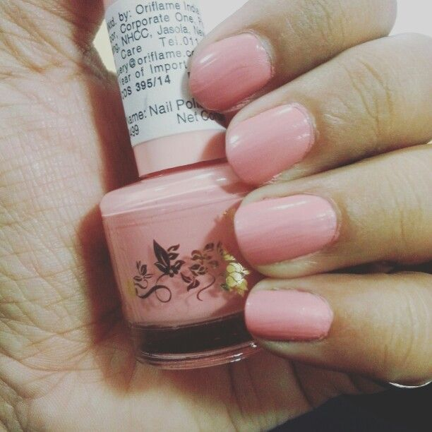 oriflame simply pretty nail paint in pink..coral shade