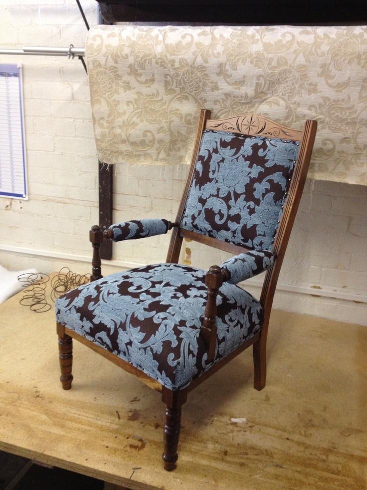 Antique chair lovingly restored in Avignon Sky fabric.