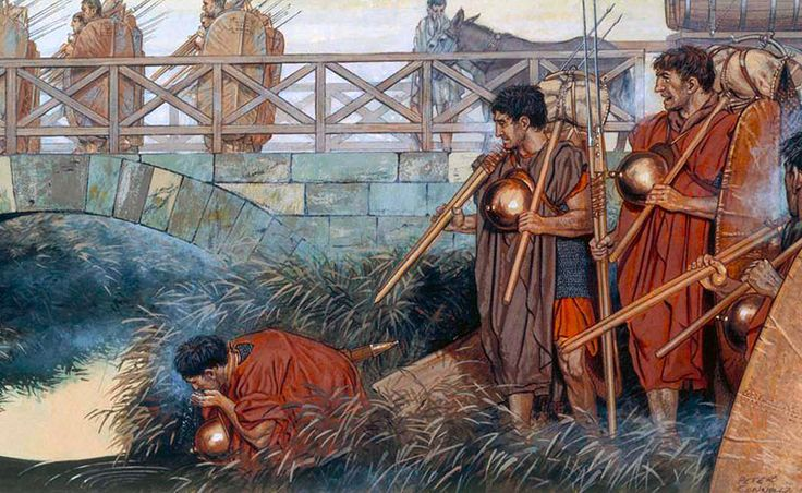 Crossing the Rubicon. Caesar's army crosses the small waterway and thus begins the campaign for mastery of the Senate and the people of Rome. His adversaries the conservative members of the council pressed Pompeius Magnus out of retirement and into action against him.