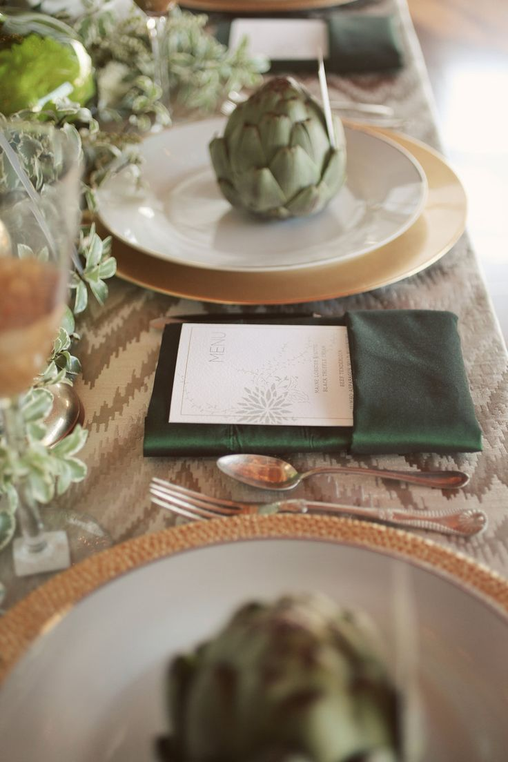 Artichoke placeholder silk shantung napkins ikat table