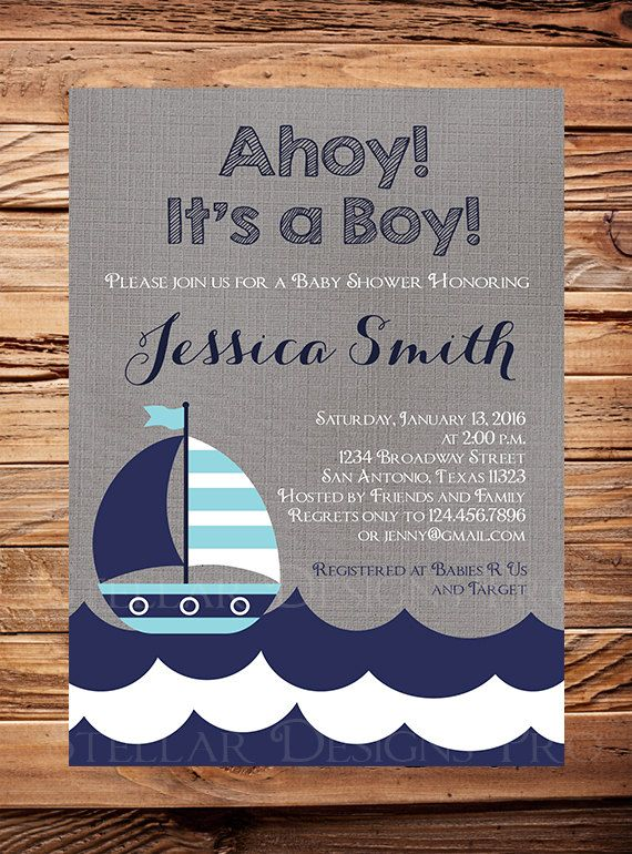 Sail Boat Baby Shower Invitation boy, Sailboat Boy Shower, Navy, Teal, Nautical Baby Boy Shower Invitation, Sailboat Baby shower Boy, 1496