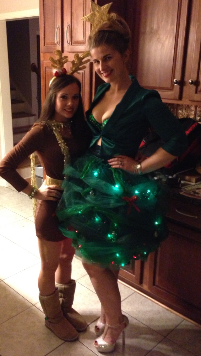 Reindeer and christmas tree costumes