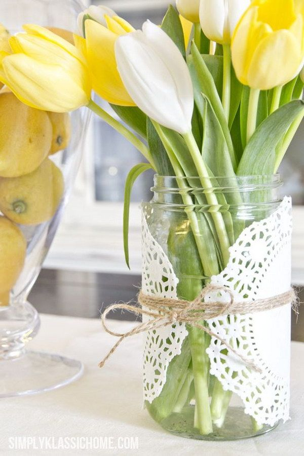 Easy Doily Wrapped Mason Jar Spring Vase