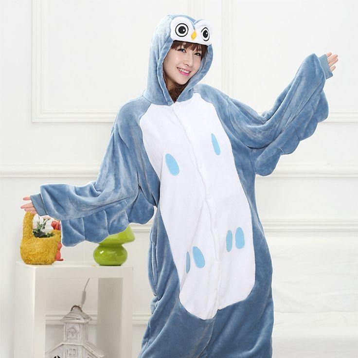 Mother Father Daughter Boy Dresses Family Matching Sleepwear Hooded Pajama Cartoon Animal Blue owl Party Cosplay Pyjama Pijamas #Affiliate