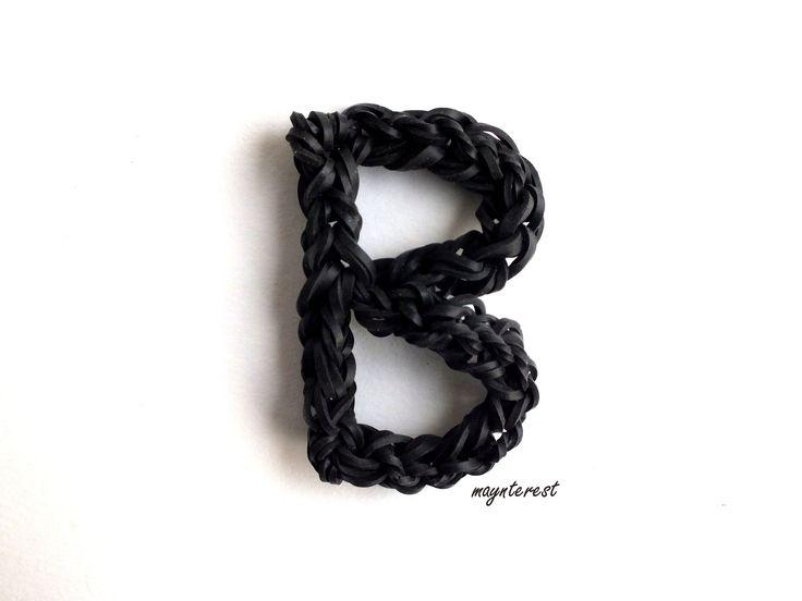Letra B de gomitas SIN TELAR | Letter B charm NO LOOM #raimbowloom #DIY #gomitas #ligas #letras