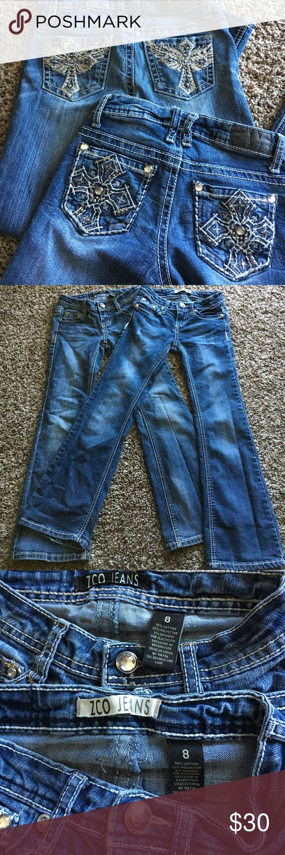 2 pairs girls ZCO jeans size 8 Gently worn, excellent condition, no flaws, smoke free. 🛍Open to reasonable offers ONLY please! I will not consider unreasonable offers that are half the asking price. No trades. No Modeling. And please keep in mind Poshmark sets the $6.49 flat rate shipping. Thank you!☺ ZCO Bottoms Jeans
