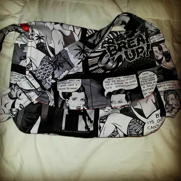 Black and White Comic Strip Messenger Bag - Plus Size - Curvy Fashion - Bold - Unique - Renegade