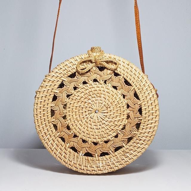 Steli Hollow Out Flower Round Straw Bag