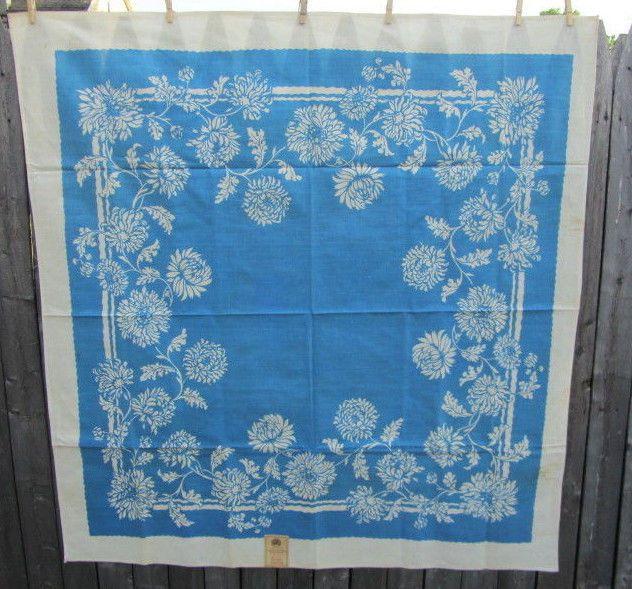 "Vintage Tablecloth White Flowers BLUE Background 52"" X 49"" UNUSED Tag USA"