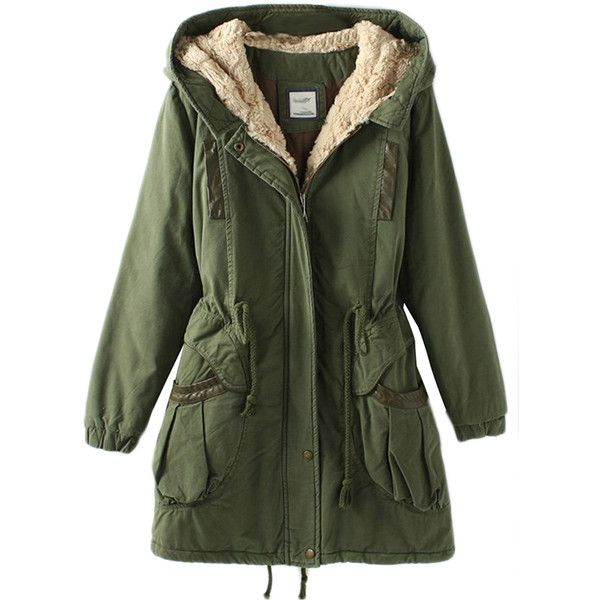 Green Vintage Warm Winter Tunic Hooded Womens Parka Coat ($107) ❤ liked on Polyvore featuring outerwear, coats, jackets, tops, green, hooded parka, green hooded parka, green hooded coat, green coat and hooded coats