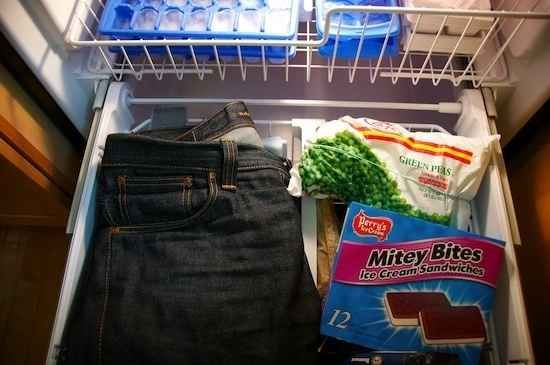 Leave your jeans overnight in the freezer to make them smell better.