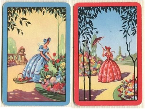 Swap Cards_crinoline ladies in garden_blue, red