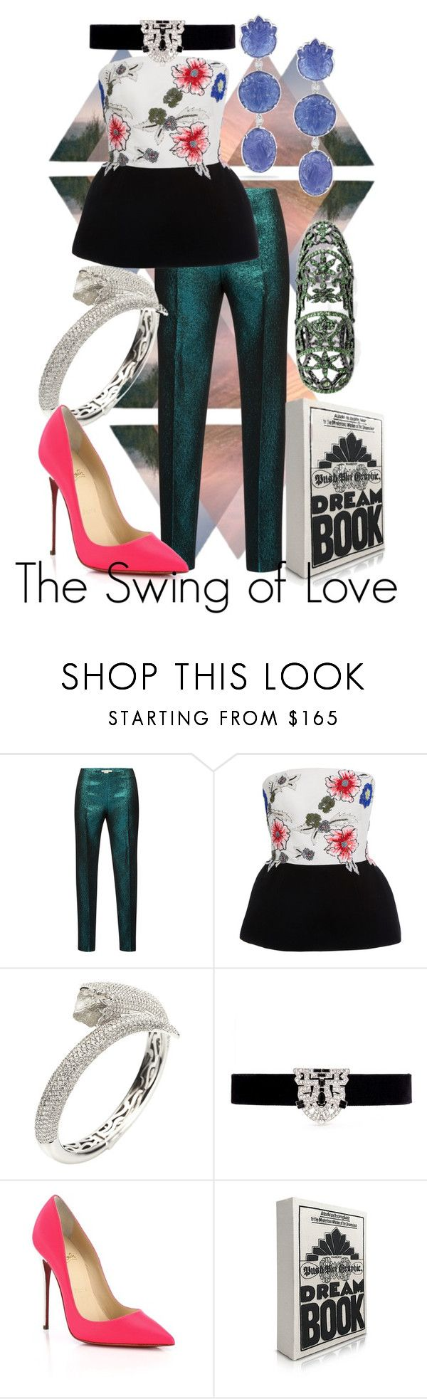 """""""Back in the Swing"""" by raecycle ❤ liked on Polyvore featuring Antonio Berardi, Monique Lhuillier, Diamond in the Rough, Kenneth Jay Lane, Christian Louboutin, Olympia Le-Tan, floral, Random and rando"""