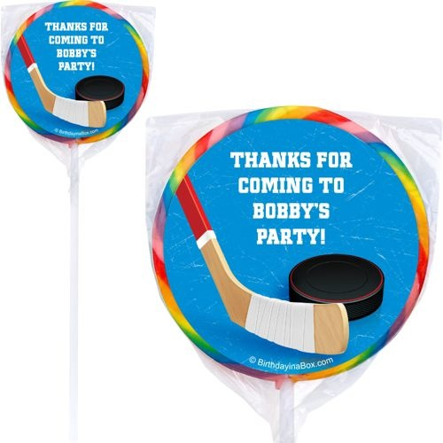 Hockey Party Personalized Lollipop - Personalized Lollipops & Party Supplies