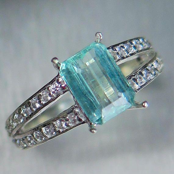Natural Paraiba blue Aquamarine & Diamonds 925 Silver 9ct 14k