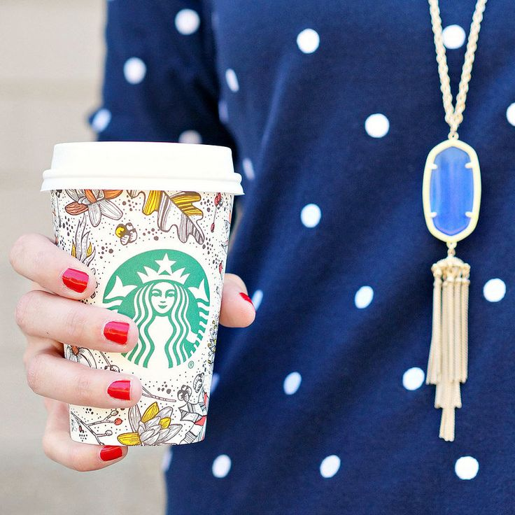 fall style: Starbucks fall cup, red nails, polka dots, and Kendra Scott necklace from #Rocksbox