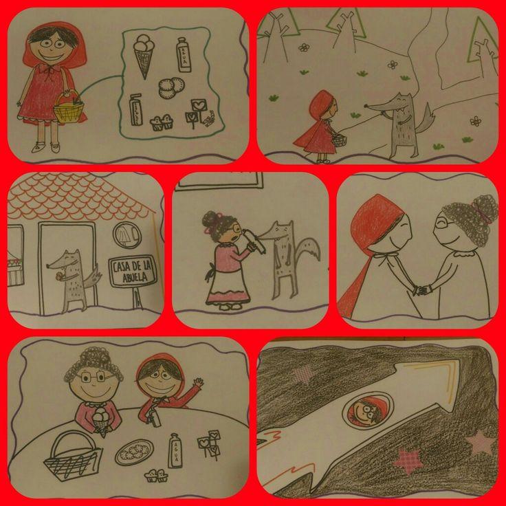 Caperucita Roja y las galletas.  Resumen en imágenes de un cuento especial.