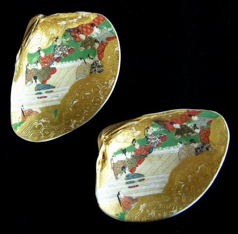 Pair of Kai-awase matching shells. Kai-awase is a shell matching game that dates back to the Heian period, and was popular among royalty and nobles. It is similar to the card game Concentration.