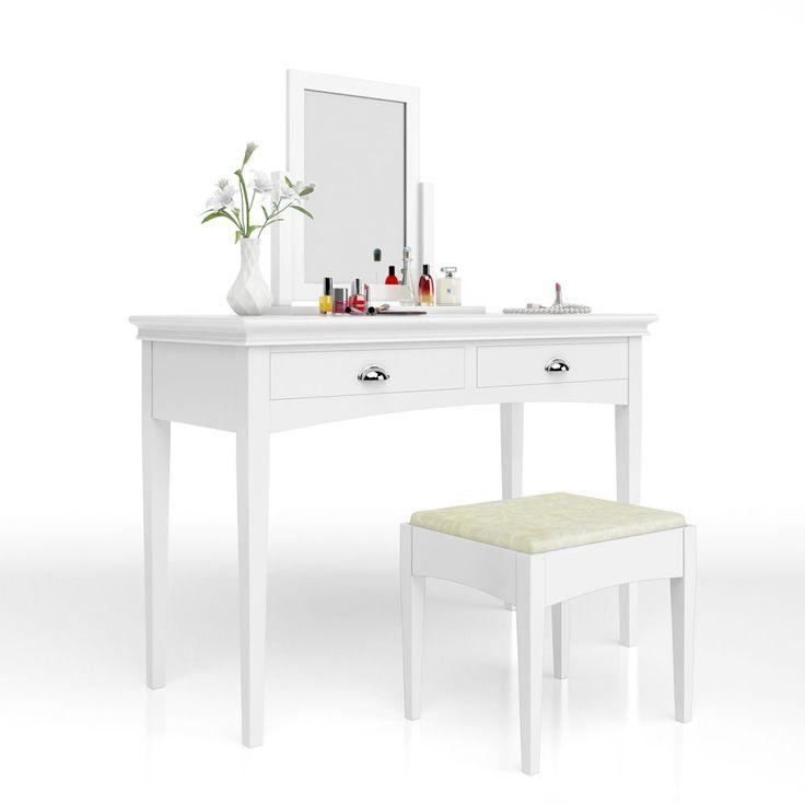 Details Zu Schminktisch Hocker Kosmetiktisch Frisierkommode Frisiertisch  Spiegel Rose Serie