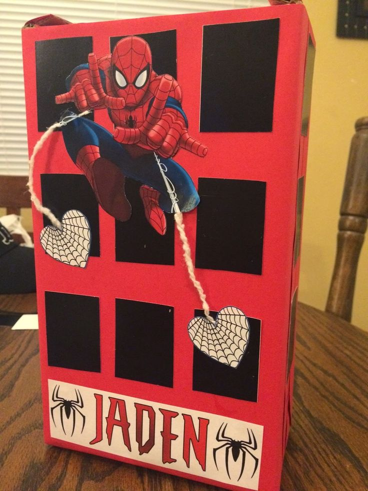 Spiderman Valentine's Day Box - homemade Valentine box for school
