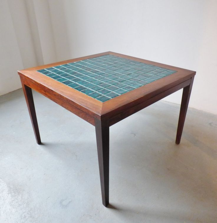 1960s Danish rosewood coffee table with teal tiles Plan - Unique rosewood coffee table Plan
