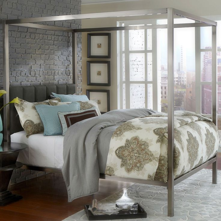 Sale! King Size Modern Antique Nickel Metal Canopy Bed Upholstered Headboard