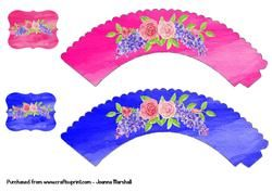 Floral Watercolour Cup Cake Wrappers   Toppers on Craftsuprint - View Now!