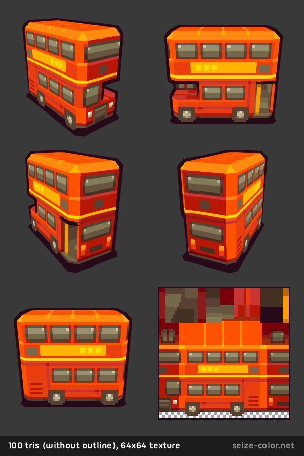 Bus londonien 3D low poly